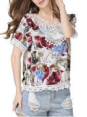 Summer  Polyester  Women  Asymmetric Neck  Decorative Lace  Floral Printed  Short Sleeve Blouses