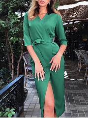 Surplice  Belt  Plain Bodycon Dress