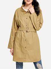 Fold-Over Collar  Belt  Plain  Long Sleeve Trench Coats