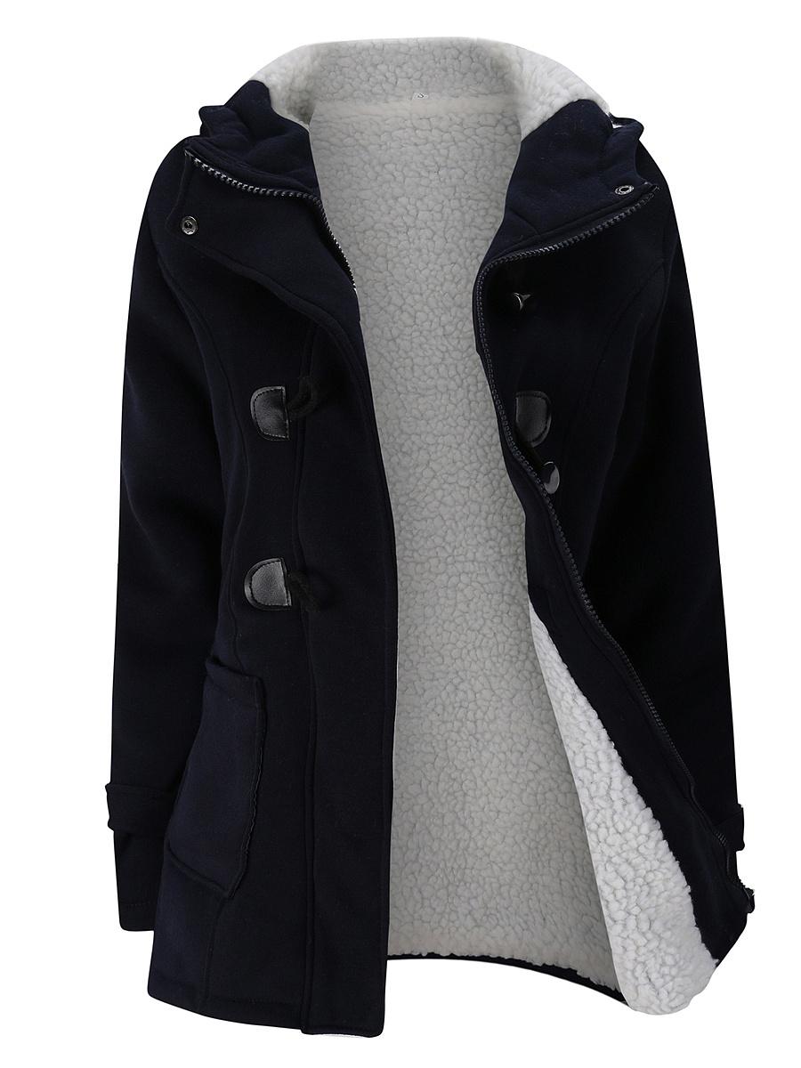 Hooded Fleece Lined Patch Pocket Plain Coat