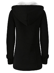 Hooded Fleece Lined Patch Pocket Plain Coat