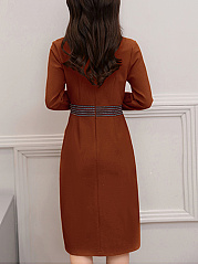 Band Collar  Plain  Blend Shift Dresses