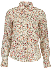 Tiny Flower Printed Turn Down Collar Blouse