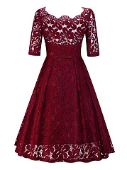 Asymmetric Neck See-Through Plain Lace Skater Dress