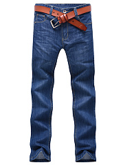 Casual-Patch-Pocket-Straight-Mens-Jeans