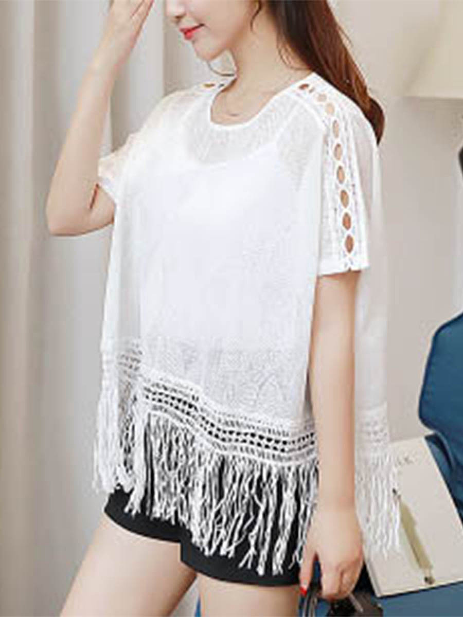 Round Neck Fringe Hollow Out Plain Tunic