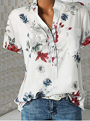 Spring Summer  Polyester  Split Neck  Printed Blouse