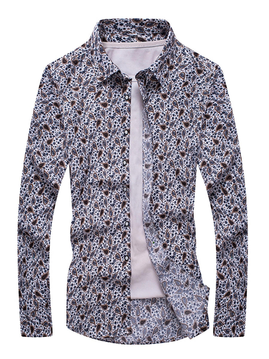 Allover Paisley Printed Men Long Sleeve Shirts