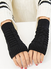 Plain Soft Warm Flip Fingerless Gloves