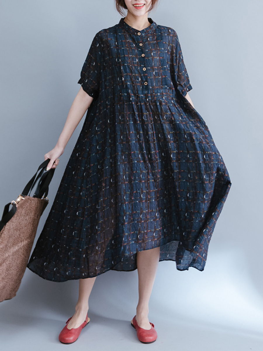 printed casual spring summer oversized Band Collar  Printed  Spandex Maxi Dress