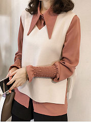 Turn Down Collar  Bowknot  Two Way  Plain  Long Sleeve Blouses