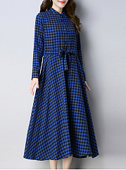 Round Neck  Patch Pocket  Checkered Maxi Dress