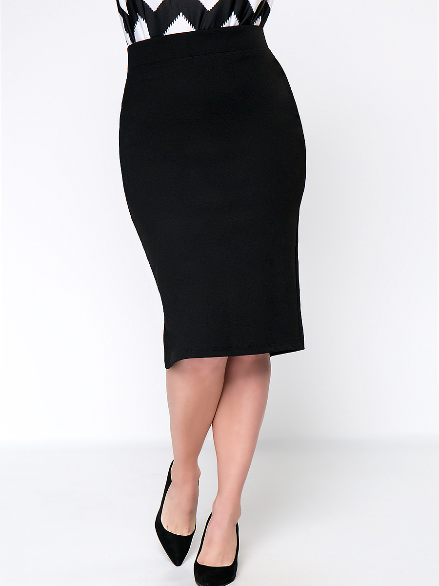 Solid Pencil Midi Slit Plus Size Skirt In Black