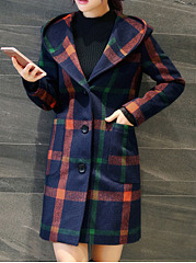 Hooded  Patch Pocket Single Breasted  Plaid  Long Sleeve Coats