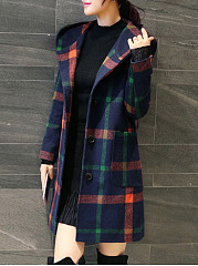 Hooded Plaid Patch Pocket Woolen Coat