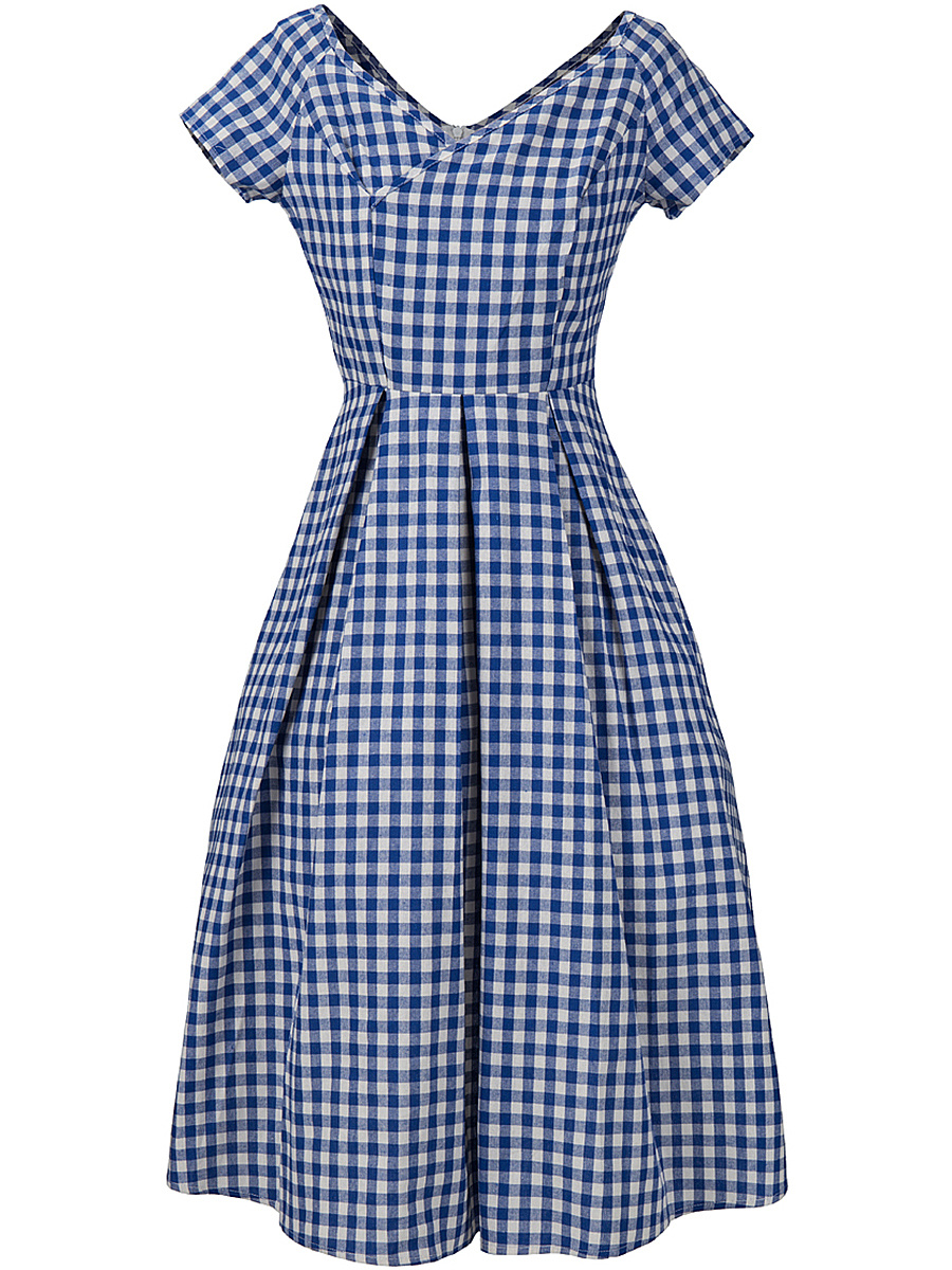 Classical V-Neck Plaid Midi Short Sleeve Skater Dress