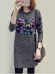 Round Neck  Patchwork  Abstract Print Shift Dress