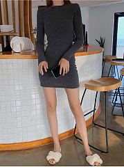 Crew Neck  Plain Sexy  Joker  Bodycon Dress