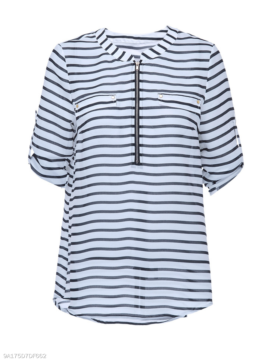 Crew Neck  Zips  Striped Plus Size Blouse With Roll-Up Sleeve
