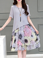 Summer Floral Printed Chiffon Shift Dress