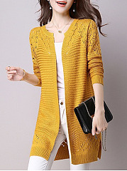 Hollow Out Plain  Long Sleeve Cardigans