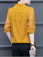 Autumn Spring  Polyester  Women  V-Neck  See-Through  Plain  Long Sleeve Blouses