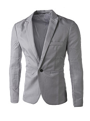 Formal Notch Lapel Single Button Plain Men Blazer