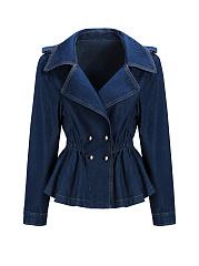 Lapel-Double-Breasted-Elastic-Waist-Plain-Peplum-Denim-Jacket