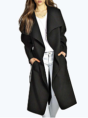Fold-Over Collar  Belt  Plain  Long Sleeve Coats