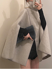 Fold-Over Collar  Decorative Button  Plain  Cape Sleeve Cape