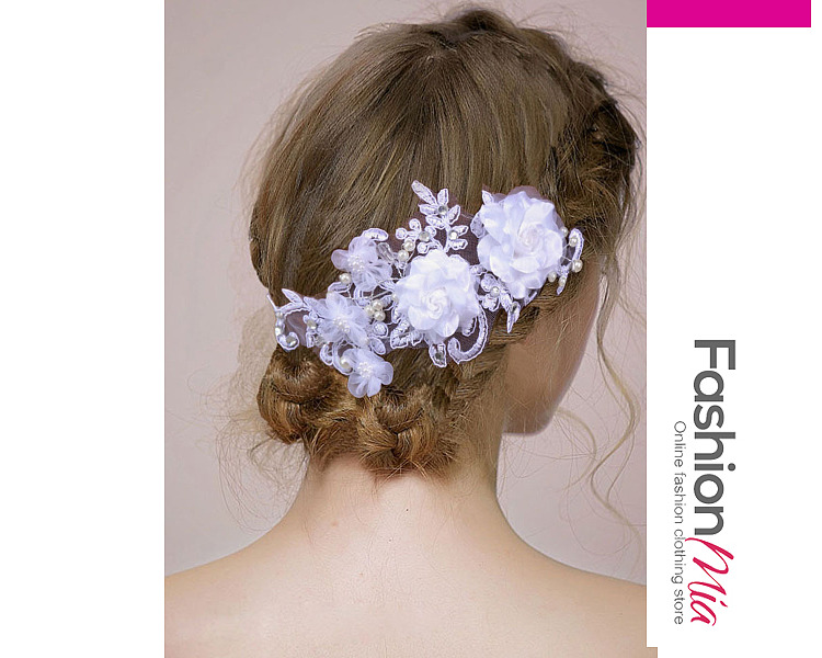 White Lace Floral Wedding Hair Accessories
