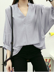 Autumn Spring  Cotton  Women  V-Neck  Plain  Batwing Sleeve  Long Sleeve Blouses