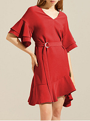 V-Neck Bell Sleeve Flounce Belt Plain Skater Dress