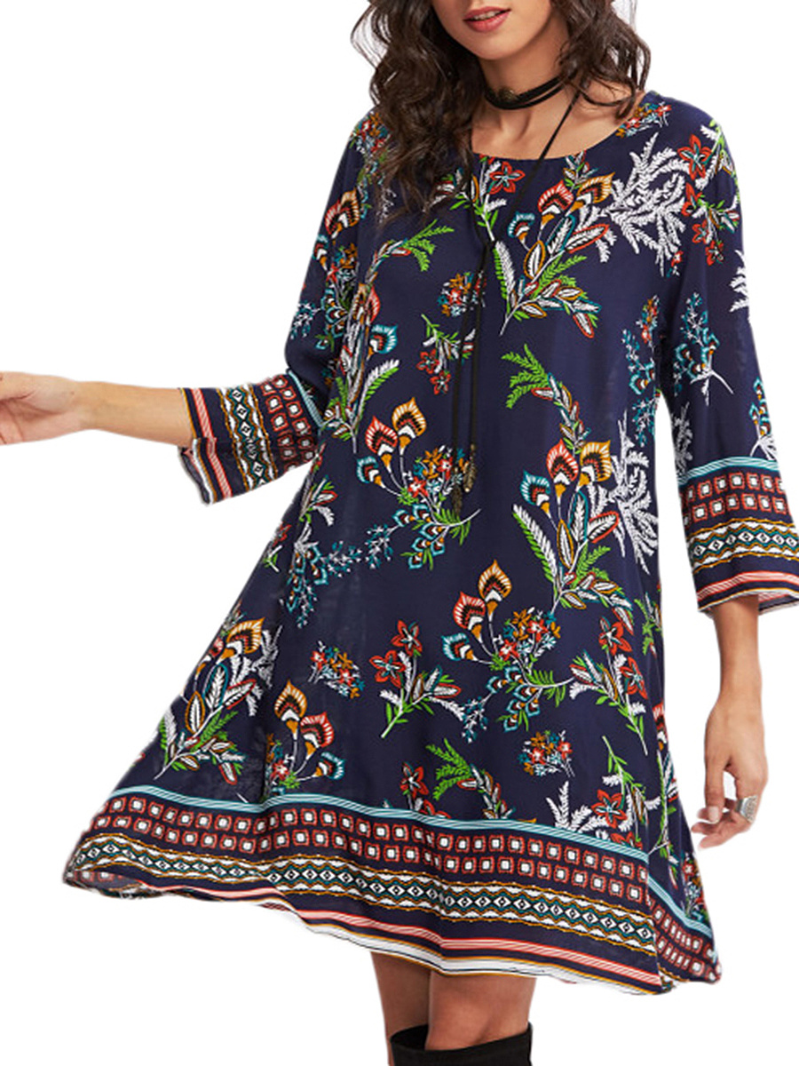 Colorful Round Neck Tribal Printed Shift Dress