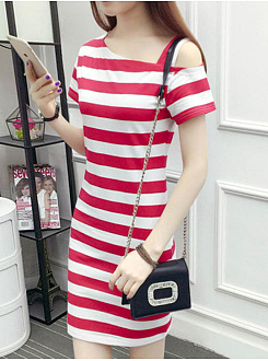 Asymmetric Neck  Striped Bodycon Dress