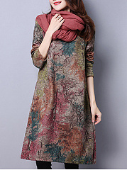 Round Neck Casual Linen Printed Shift Dress