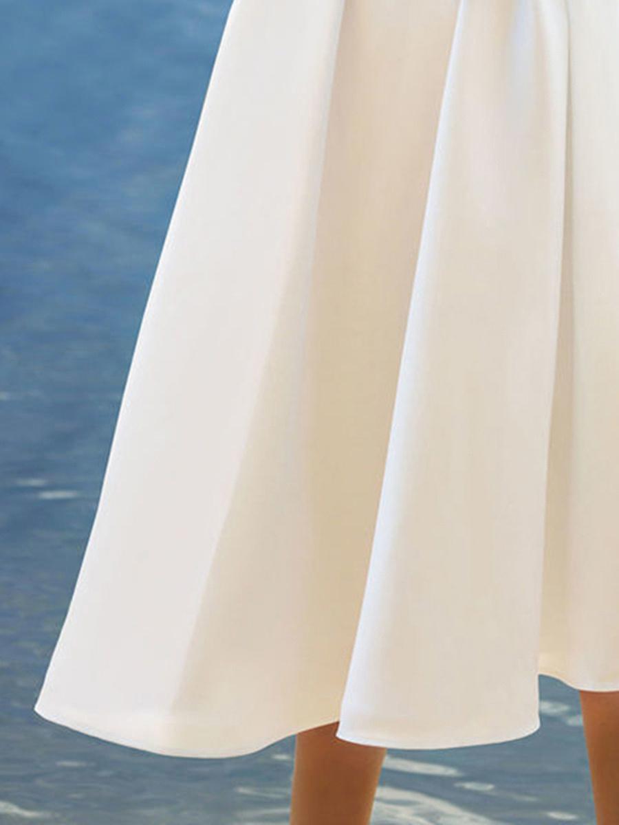 V-Neck Decorative Lace Plain Midi Skater Dress