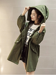 Hooded  Flap Pocket  Letters Printed  Long Sleeve Trench Coats