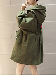 Oversized Hooded Flap Pocket Letters Printed Trench Coat