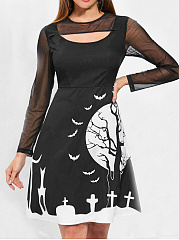 Round Neck  See-Through  Printed Skater Dress