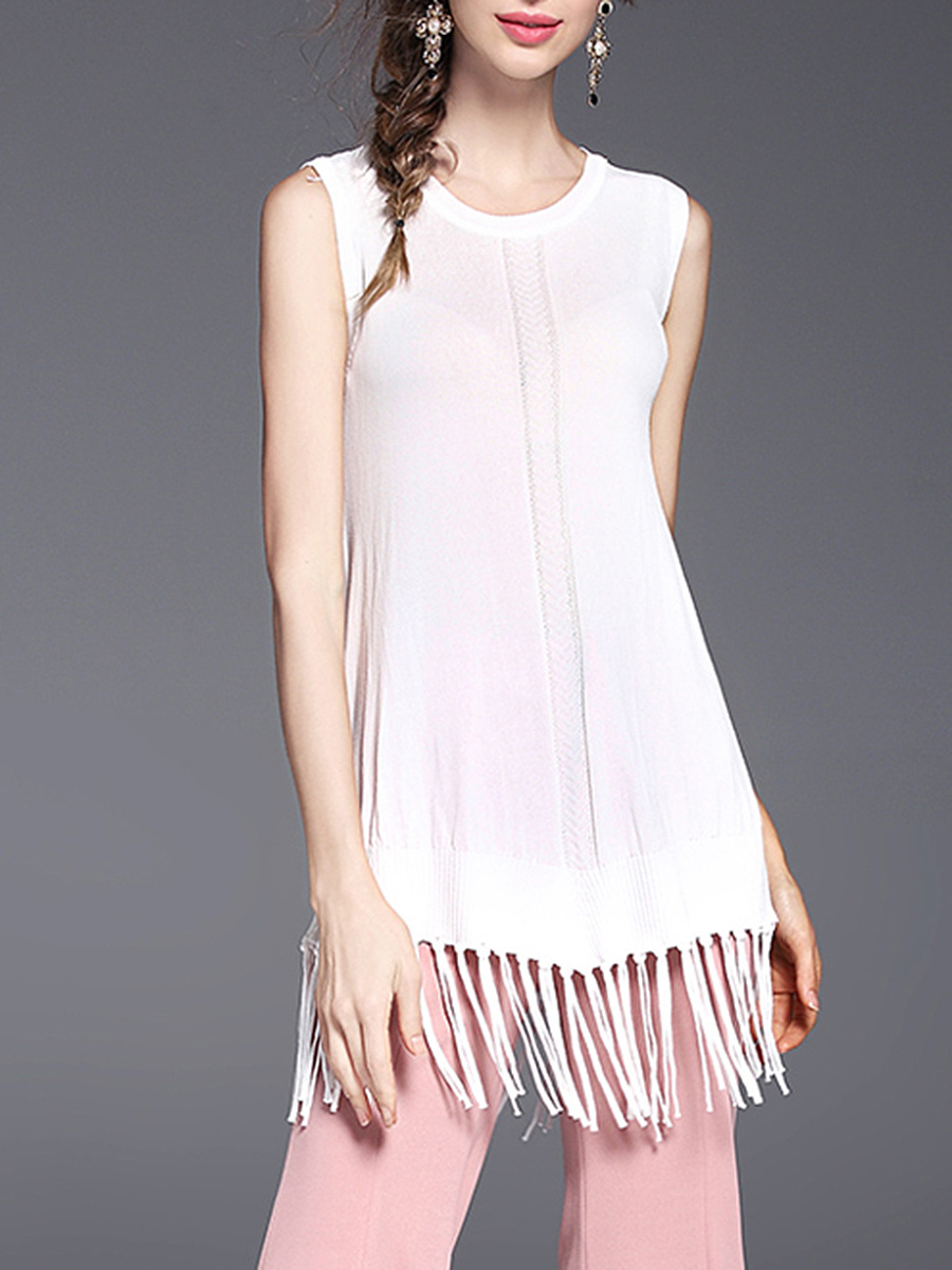 Round Neck Fringe Plain Sleeveless T-Shirt