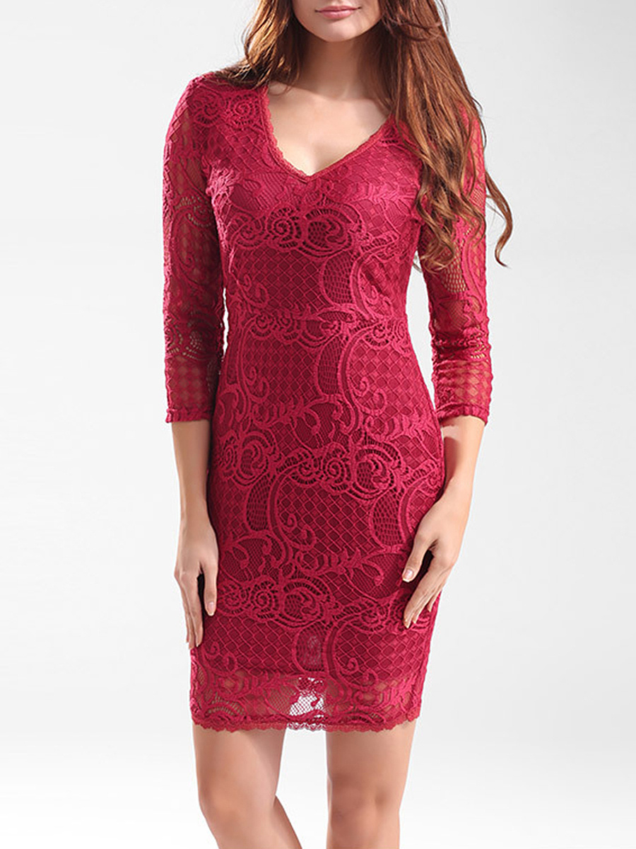 Deep V-Neck Hollow Out Plain Lace Bodycon Dress