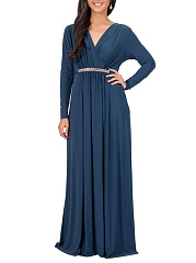 V-Neck Date Plain Empire Line Maxi Dress