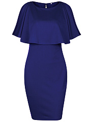 Cape Sleeve Plain Round Neck Bodycon Dress