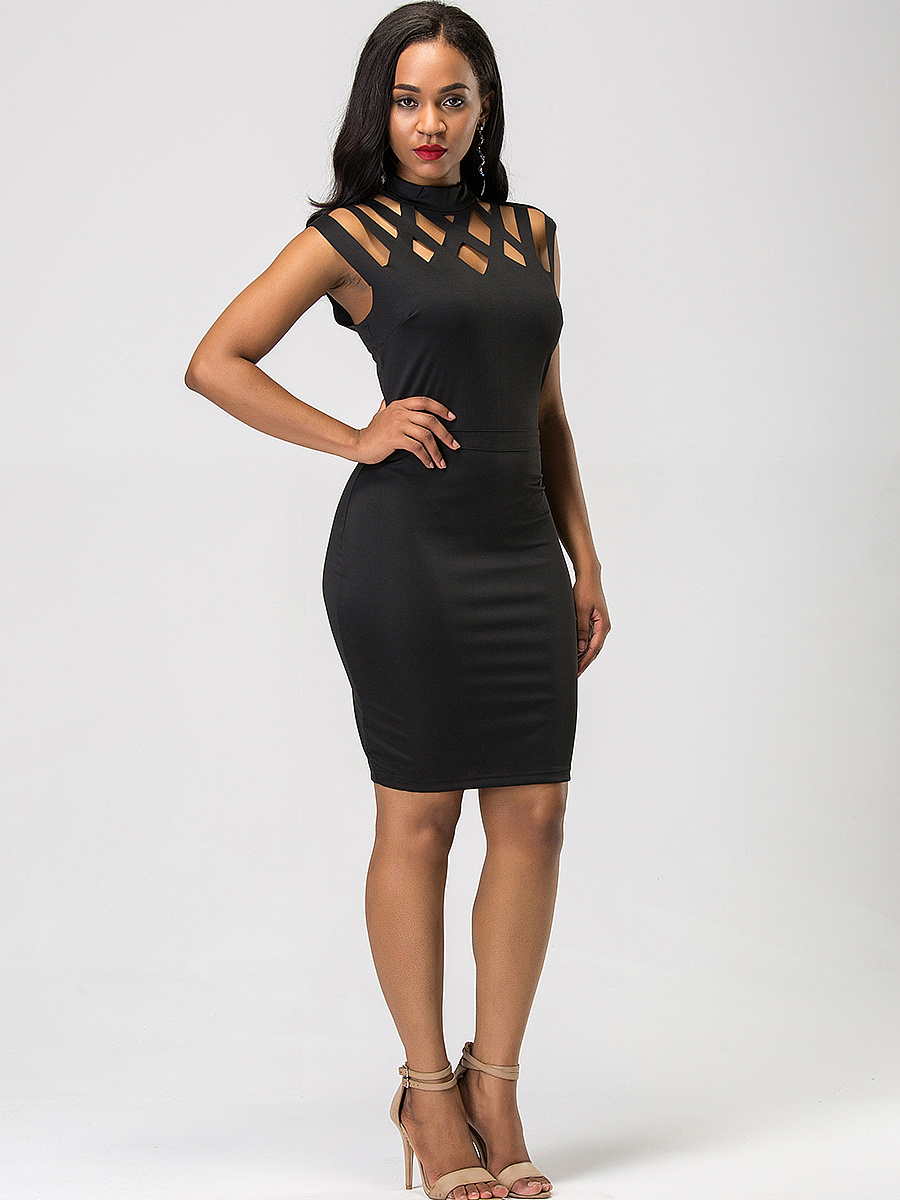 Black Cutout Band Collar Bodycon Dress