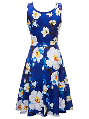 Round Neck Sleeveless Floral Printed Skater Dress