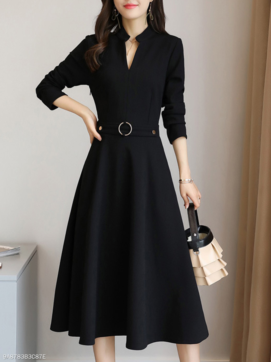 V-Neck Plain Pocket Maxi Dress