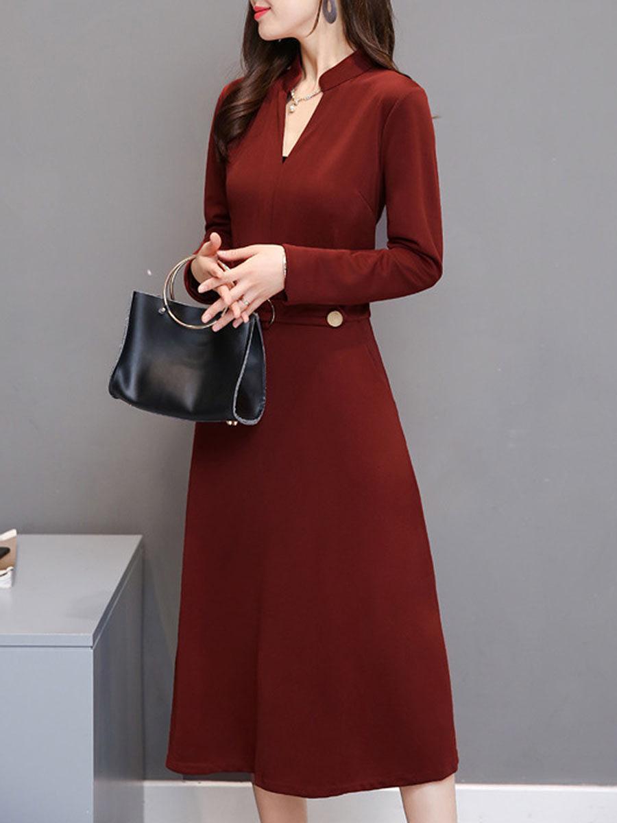 V-Neck Plain Pocket Maxi Dress