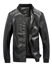 Band Collar PU Leather Pocket Men Jacket