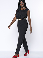 Solid Cutout Round Neck Modern Plus Size Jumpsuit
